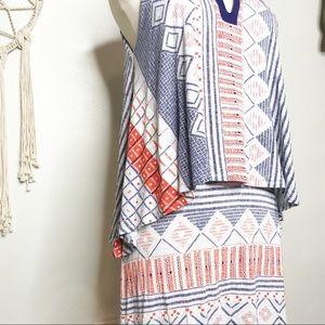 Anthropologie Dresses - Anthropologie Maeve Layered Orange Blue Dress